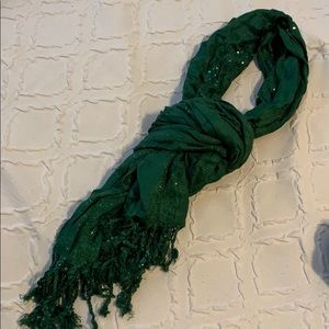 Emerald green sequin scarf
